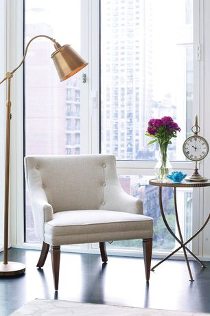 Transitional Master Bedroom with Interlude home lorenzo end table, Cal lighting pharmarcy pole floor lamp, antique brass