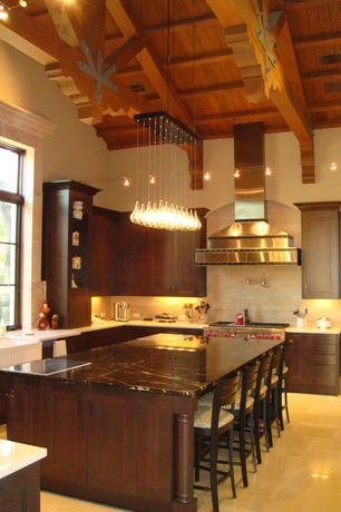 Contemporary Kitchen with Exposed beam, Breakfast bar, Pendant light, Farmhouse sink, L-shaped, flush light, Onyx counters