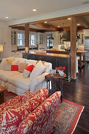 Craftsman Living Room with Exposed wood column, Restoration hardware vintage toledo bar chair - polished chrome, Columns