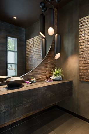 Contemporary Master Bathroom with Wall Tiles, Wood counters, full backsplash, Tom dixon pipe light pendant, can lights