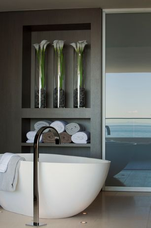 """Contemporary Master Bathroom with 64"""" Lacota Resin Freestanding Tub, Balcony, Master bathroom, Freestanding"""