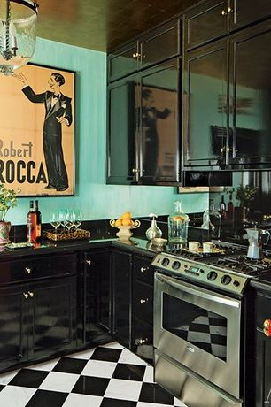 Eclectic Kitchen with Inset cabinets, Door, High gloss cabinet finish, Paint, Raised panel, Flat panel cabinets, Soapstone