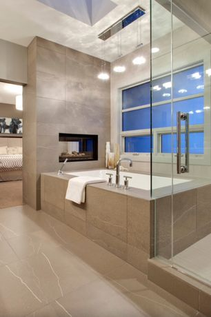 "Contemporary Master Bathroom with can lights, Casement, Pendant light, Arizona travertine tile - 24"" sq troy, Master bathroom"