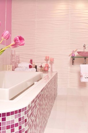 Contemporary Master Bathroom with Glass counters, Pental Bianco Wave, Vessel sink, Master bathroom