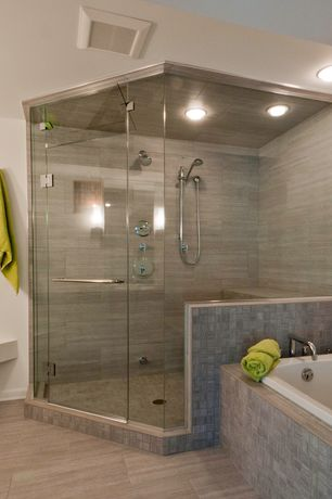 Contemporary Full Bathroom with Custom Glass Shower Enclosure, Oregon Tile & Marble Bi-Fusion Porcelain Tile