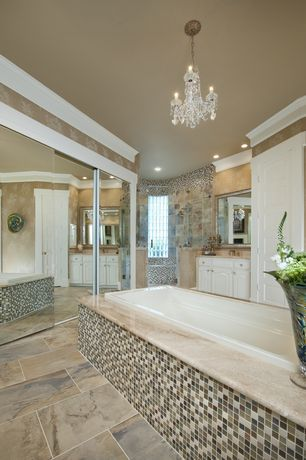 Traditional Master Bathroom with Master bathroom, Daltile Slate in Coastal Azul, Undermount sink, Complex Marble, Chandelier