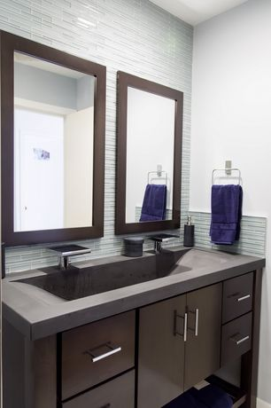 """Contemporary Full Bathroom with Foremost Orion 38"""" Wall Mirror in Dark Walnut, Pental Cardoso Select Schist"""