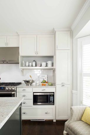 Contemporary Kitchen with Subway Tile, Open shelving, Ms international -  crema atlantico granite, Crown molding, One-wall
