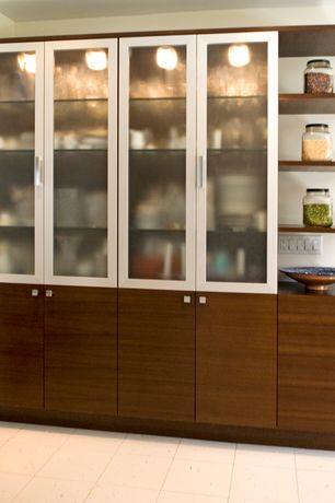 Contemporary Pantry with Ikea hemnes storage cabinet, limestone tile floors