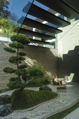 Asian Landscape/Yard with Eldorado Stacked Stone - Dry Creek, Raised beds, Imperial Bonsai Tree