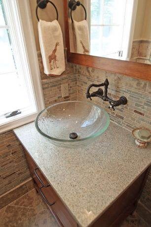 Craftsman Powder Room with Quartz counters, Pental Quartz Oyster, Flat panel cabinets, Flush, Vessel sink, Powder room