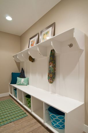 Contemporary Mud Room with Bird Pillow Cover in Aqua and White, Franklin Brass Jamestown Wall Mounted Double Robe Hook