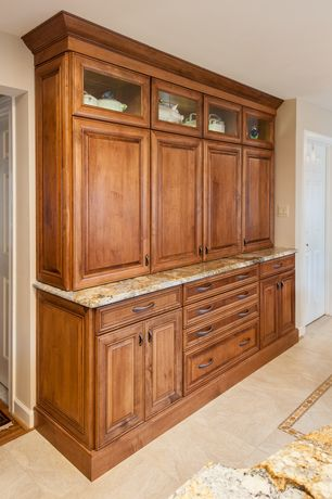 Traditional Kitchen with MS International Golden Beach Granite, Raised panel, Complex granite counters, One-wall, Glass panel