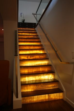 Contemporary Staircase with High ceiling, Onyx stair, Hardwood floors, Backlit onyx