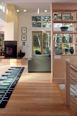 Modern Living Room with Built-in bookshelf, Ceiling fan, Laminate floors, High ceiling, flush light