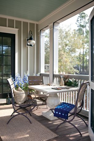 Traditional Porch with Wrap around porch, Fence, French doors