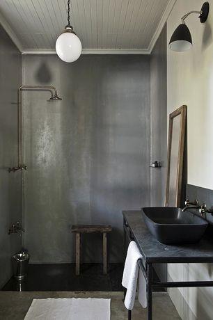 Eclectic 3/4 Bathroom with Vessel sink, Shower, Rain shower, Concrete floors, full backsplash, Soapstone, Pendant light