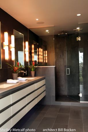 Contemporary Master Bathroom with European Cabinets, Quartz counters, Master bathroom, Wall sconce, Rain shower, Flush