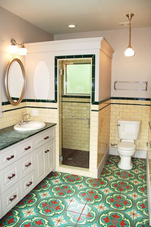 Cottage 3/4 Bathroom with Raised panel, Pendant light, Soapstone counters, Mandalla ceramic tile, Large Ceramic Tile