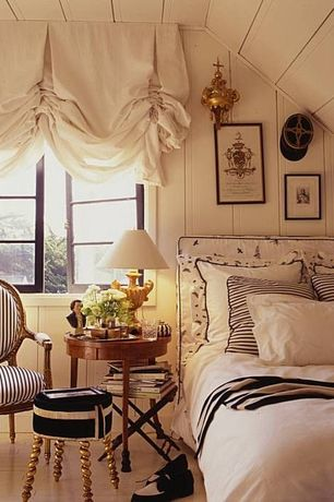 Traditional Guest Bedroom with Hardwood floors, Ballard designs oval louis xvi back armchair, Crown molding