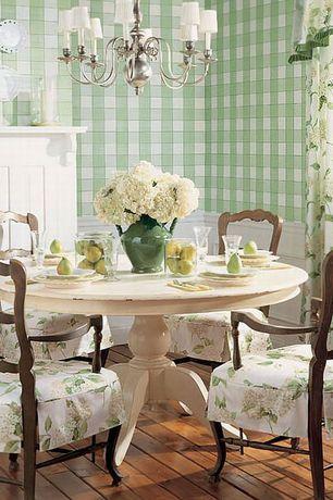 Cottage Dining Room with interior wallpaper, Wainscotting, Fredericksburg Chandelier, Redondo Dining Table, Hardwood floors