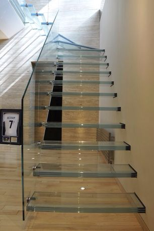 Modern Staircase with Glasswalk st glass stair tread system, Glass staircase, interior wallpaper, High ceiling