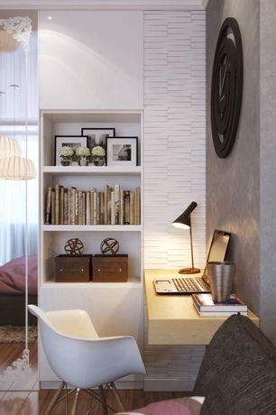 Contemporary Home Office with interior wallpaper, Hardwood floors, Built-in bookshelf, Crown molding
