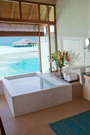 Contemporary Master Bathroom with Emser tile st. moritz 12x12 glazed floor porcelain tile in tan, limestone tile floors