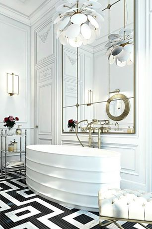 Contemporary Master Bathroom with Crown molding, Sunpan Mercer Goldtone Upholstered Bench, Standard height, Bathtub