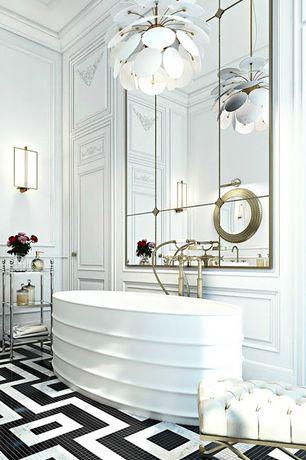 Contemporary Master Bathroom with Sunpan Mercer Goldtone Upholstered Bench, Pendant light, Master bathroom, Crown molding