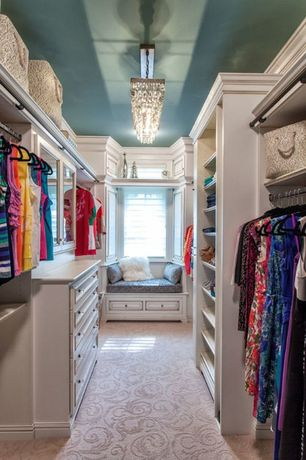 Traditional Closet with picture window, Chandelier, Paint, Window seat, High ceiling, Built-in bookshelf, Carpet