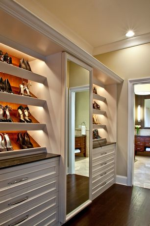 Traditional Closet with can lights, Paint, Standard height, Built-in bookshelf, Crown molding, Closet lighting