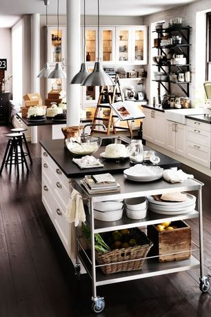 Contemporary Kitchen with Ikea foto pendant lamp, aluminum, Flush, Glass panel, Flat panel cabinets, Farmhouse sink, L-shaped