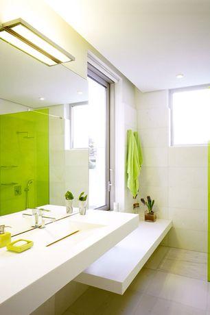 Modern 3/4 Bathroom with Corian counters, Undermount sink, Framelss glass frameless glass shower screen, Handheld showerhead