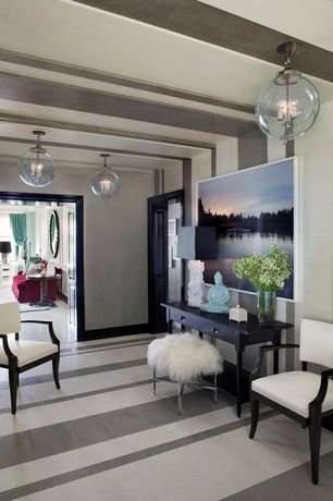 Contemporary Hallway with Standard height, Pendant light, Concrete floors, Built-in bookshelf, flat door
