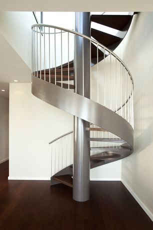 Contemporary Staircase with Hardwood floors, High ceiling, Spiral staircase