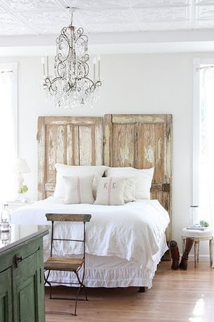 Rustic Master Bedroom with Cabinet, Box ceiling, Hardwood floors, Chandelier, Shabby chic, Tin ceiling tile