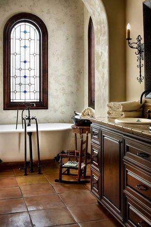 """Mediterranean Master Bathroom with SALTILLO 12"""" X 12"""" - ANTIQUE ADOBE FLOOR SEALED"""