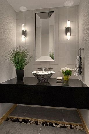 Modern Powder Room with porcelain tile floors, Vessel sink bowl, Textured wall finish, Rectangle concave mirror