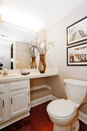 Contemporary Powder Room with Hardwood floors, Standard height, Built-in bookshelf