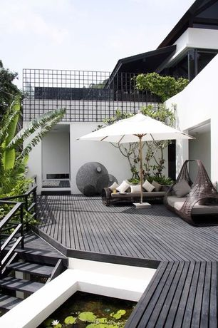 Contemporary Deck with Kenneth cobonpue lolah daybed, 3m square outdoor umbrella, Kenneth cobonpue lolah loveseat