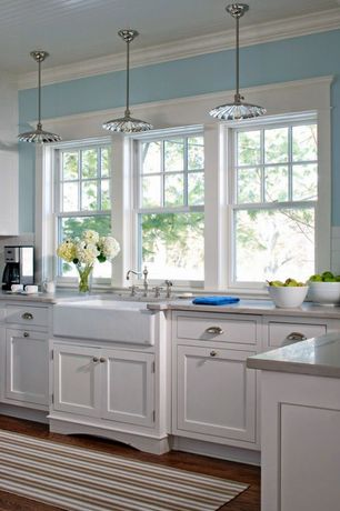 Country Kitchen with Farmhouse sink, Paint 1, Painted wood ceiling, Standard height, double-hung window, L-shaped
