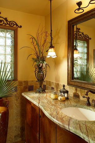 Traditional Full Bathroom with Full Bath, European Cabinets, Stone Tile, full backsplash, Pendant light, picture window