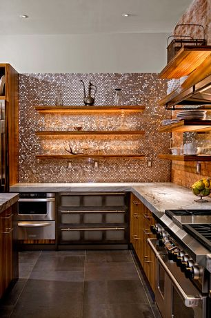 Eclectic Kitchen with warming oven, full backsplash, gas range, Penny Tile, double oven range, can lights, Standard height