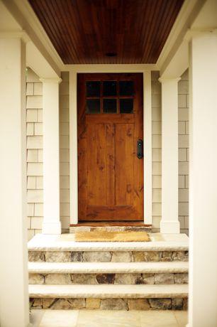 Country Front Door with exterior stone floors, Glass panel door