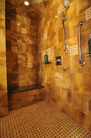Modern Master Bathroom with Standard height, Carpet, Basket weave bone and black, White led can light kit, can lights