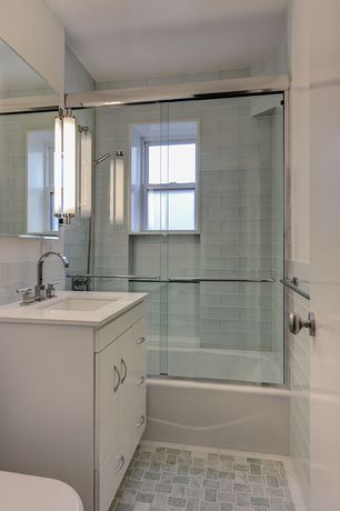 Modern Full Bathroom with MS International Arctic Ice 3 in. x 6 in. Glass Wall Tile, Corian counters, Flush, Undermount sink