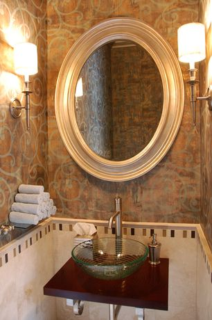 Eclectic Powder Room with Wall sconce, Wood counters, interior wallpaper, Powder room, Vessel sink, Standard height