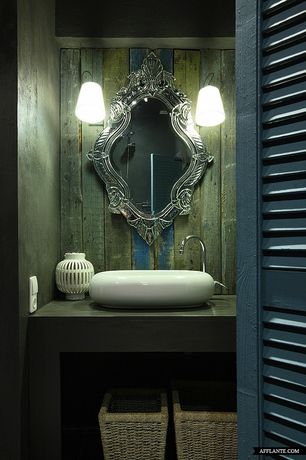 Eclectic Powder Room with Circa lighting understudy sconce, Wall sconce, Vessel sink, Borrelly oval infinity vessel sink