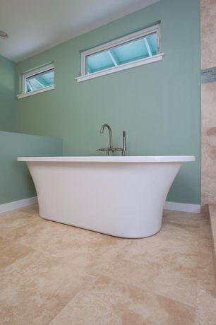 "Modern Master Bathroom with Daltile Travertine Brixton Tile in Sand, Master bathroom, 71"" GASTON ACRYLIC FREESTANDING TUB"